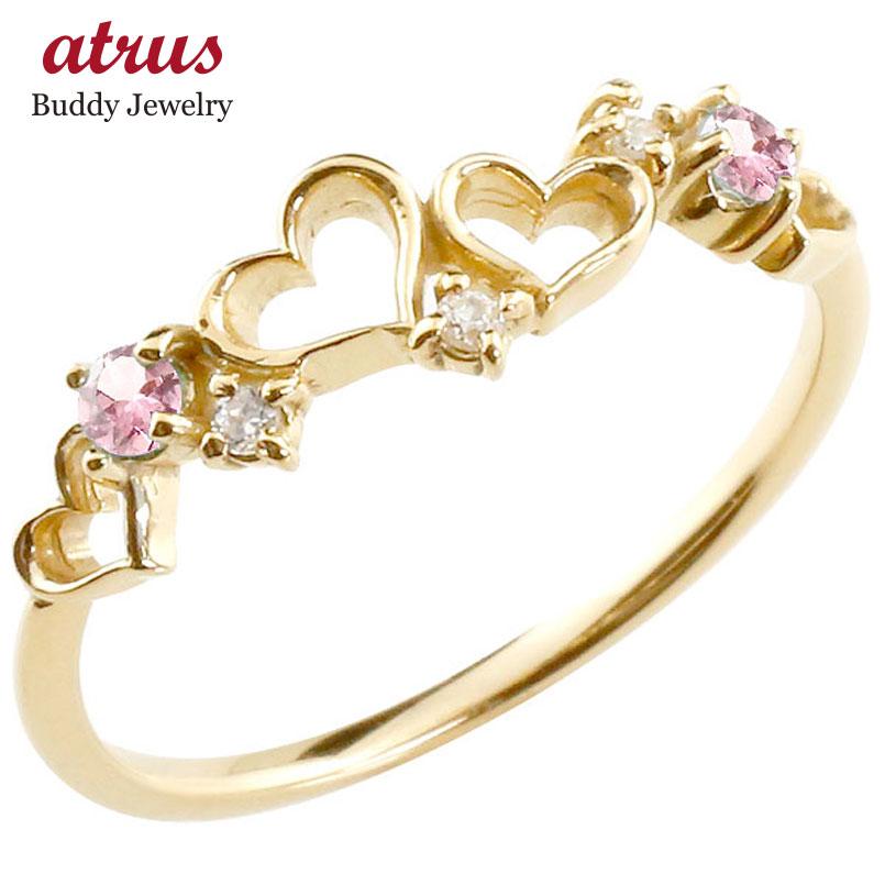 オープンハート リング ピンクトルマリン ダイヤモンド ピンキーリング 指輪 イエローゴールドk18 華奢リング 重ね付け 18金 レディース 10月誕生石