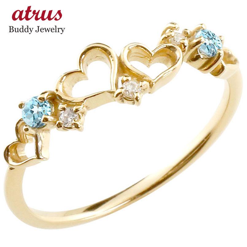 オープンハート リング ブルートパーズ ダイヤモンド ピンキーリング 指輪 イエローゴールドk10 華奢リング 重ね付け 10金 レディース 11月誕生石