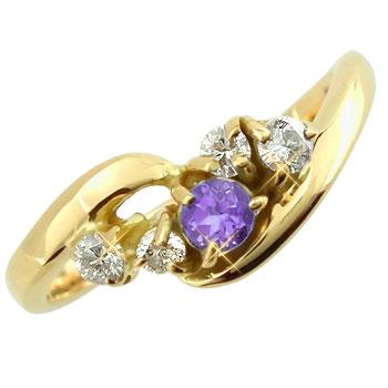 【送料無料】ピンキーリング:アメジストダイヤモンドリング:イエローゴールドk18:指輪:K18【工房直販】