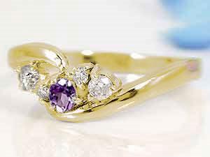 【送料無料】アメジスト,天然ダイヤモンドイエローゴールドk18リング 小指用にも【工房直販】