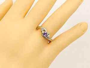 【送料無料】アメジスト,天然ダイヤモンド,指輪 小指用にも【工房直販】