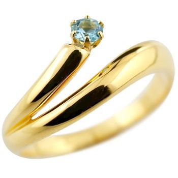 ブルートパーズ リング 指輪 ピンキーリング イエローゴールドk18 11月誕生石