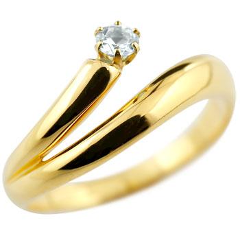 アクアマリン リング 指輪 ピンキーリング イエローゴールドk18 3月誕生石