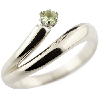 ペリドット リング 指輪 ピンキーリング ホワイトゴールドk18 8月誕生石