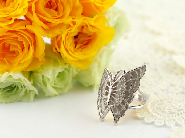 指輪 蝶 リング バタフライ 地金リング ホワイトゴールドk18