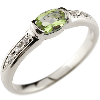 ペリドット プラチナ リング 指輪 ダイヤモンド 8月誕生石