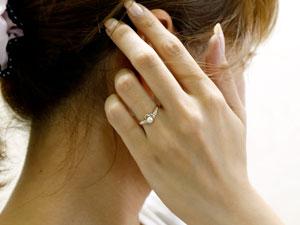 オープンハート プラチナ リング パール ダイヤモンド 指輪
