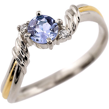 タンザナイト プラチナ リング ダイヤモンド 指輪 ピンキーリング イエローゴールドk18 コンビ 12月誕生石