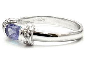 【送料無料】アイオライトダイヤモンドリング指輪ホワイトゴールドk18【工房直販】