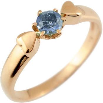 アイオライト リング ハート 指輪 ピンキーリング ピンクゴールドk18