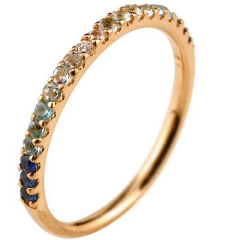 ハーフエタニティ リング サファイア ダイヤモンド ピンキーリング 指輪 ピンクゴールドk18