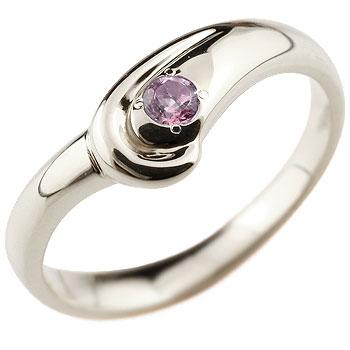 ピンクサファイア プラチナリング 指輪 スパイラルリング ピンキーリング 9月誕生石