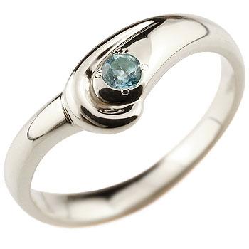 ブルートパーズ プラチナリング 指輪 スパイラルリング ピンキーリング 11月誕生石