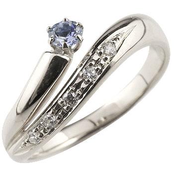 タンザナイト リング 指輪 ダイヤモンド ダイヤ スパイラルリング ピンキーリング ホワイトゴールドk18 18金 12月誕生石