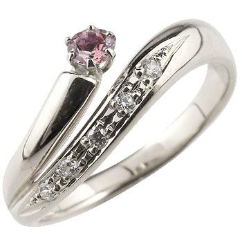 ピンクトルマリン プラチナリング 指輪 ダイヤモンド ダイヤ スパイラルリング ピンキーリング 10月誕生石