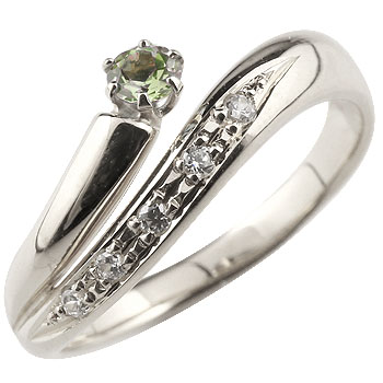ペリドット リング 指輪 ダイヤモンド ダイヤ スパイラルリング ピンキーリング ホワイトゴールドk18 18金 8月誕生石