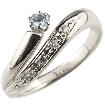 アクアマリン プラチナリング 指輪 ダイヤモンド ダイヤ スパイラルリング ピンキーリング 3月誕生石