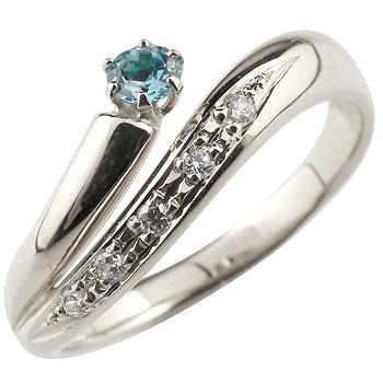 ブルートパーズ プラチナリング 指輪 ダイヤモンド ダイヤ スパイラルリング ピンキーリング 11月誕生石
