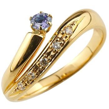 アメジスト リング 指輪 ダイヤモンド ダイヤ スパイラルリング ピンキーリング イエローゴールドk18 18金 2月誕生石