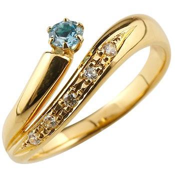ブルートパーズ リング 指輪 ダイヤモンド ダイヤ スパイラルリング ピンキーリング イエローゴールドk18 18金 11月誕生石