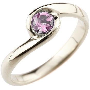 ピンクサファイア リング 指輪 スパイラルリング ピンキーリング ホワイトゴールドk18 9月誕生石