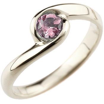 ピンクトルマリン プラチナリング 指輪 スパイラルリング ピンキーリング 10月誕生石