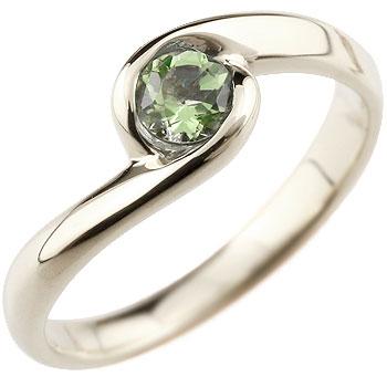 ペリドット プラチナリング 指輪 スパイラルリング ピンキーリング 8月誕生石