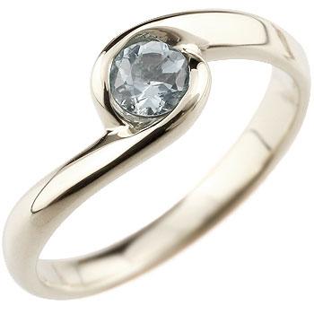 アクアマリン プラチナリング 指輪 スパイラルリング ピンキーリング 3月誕生石