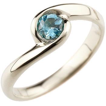 ブルートパーズ リング 指輪 スパイラルリング ピンキーリング ホワイトゴールドk18 11月誕生石