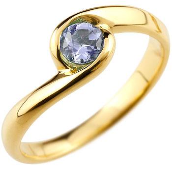 アイオライト リング 指輪 スパイラルリング ピンキーリング イエローゴールドk18
