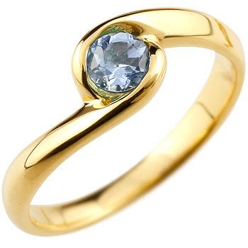 タンザナイト リング 指輪 スパイラルリング ピンキーリング イエローゴールドk18 12月誕生石