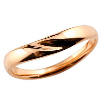 V字リング 指輪 ピンキーリング ピンクゴールドk18 地金リング シンプル レディース 宝石なし