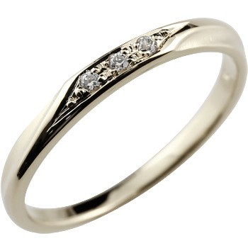 ダイヤモンドリング 指輪 ピンキーリング ホワイトゴールドk18 つや消し シンプル