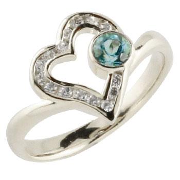 オープンハート プラチナリング ブルートパーズ ダイヤモンド ダイヤ 指輪 ピンキーリング レディース 11月誕生石