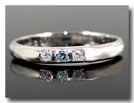 ピンキーリング ダイヤモンドリング ダイヤモンド ブルーダイヤモンド プラチナリング 指輪 ダイヤ