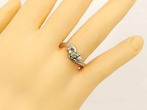 プラチナ900ペリドットダイヤモンドリング