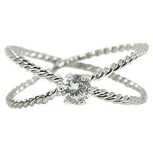 【工房直販】ピンキーリング:ダイヤモンド:指輪:ホワイトゴールドK18:K18WG:一粒ダイヤ:ダイヤモンド0.10ct【送料無料】
