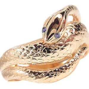 【送料無料】アメジストピンクゴールドK18白蛇指輪 小指用にも【工房直販】