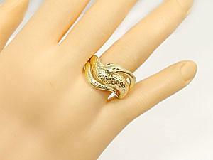 【送料無料】アメジストイエローゴールドk18白蛇指輪 小指用にも【工房直販】
