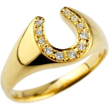 馬蹄 ダイヤモンド リング 指輪 ホースシュー ダイヤ イエローゴールドk18 18金 ダイヤモンドリング