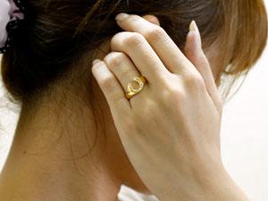 馬蹄 ダイヤモンド リング 指輪 ホースシュー ダイヤ イエローゴールドk18