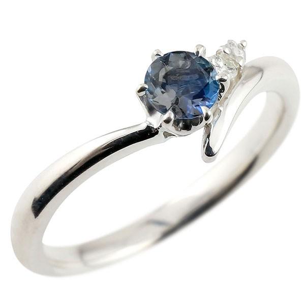 ブルーサファイア ホワイトゴールドリング ダイヤモンド 指輪 ピンキーリング 一粒 大粒 k18 レディース 9月誕生石