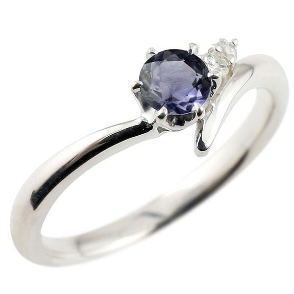 アイオライト ホワイトゴールドリング ダイヤモンド 指輪 ピンキーリング 一粒 大粒 k18 レディース