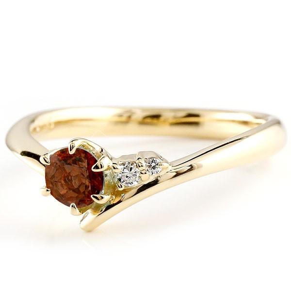 ガーネット イエローゴールドリング ダイヤモンド 指輪 ピンキーリング 一粒 大粒 k10 レディース 1月誕生石