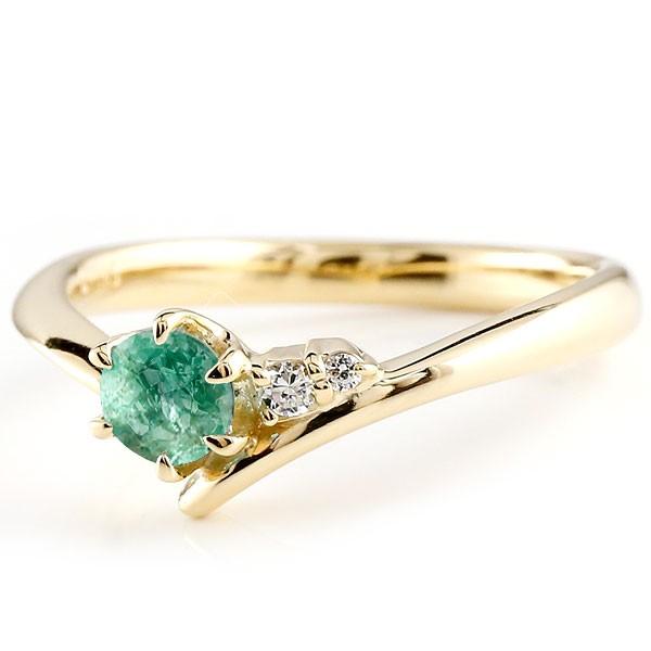 エメラルド イエローゴールドリング ダイヤモンド 指輪 ピンキーリング 一粒 大粒 k18 レディース 5月誕生石