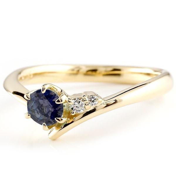 ブルーサファイア イエローゴールドリング ダイヤモンド 指輪 ピンキーリング 一粒 大粒 k10 レディース 9月誕生石