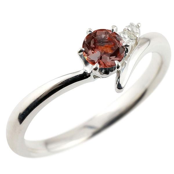 ガーネット ホワイトゴールドリング ダイヤモンド 指輪 ピンキーリング 一粒 大粒 k10 レディース 1月誕生石