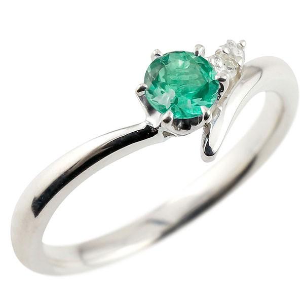 エメラルド ホワイトゴールドリング ダイヤモンド 指輪 ピンキーリング 一粒 大粒 k18 レディース 5月誕生石
