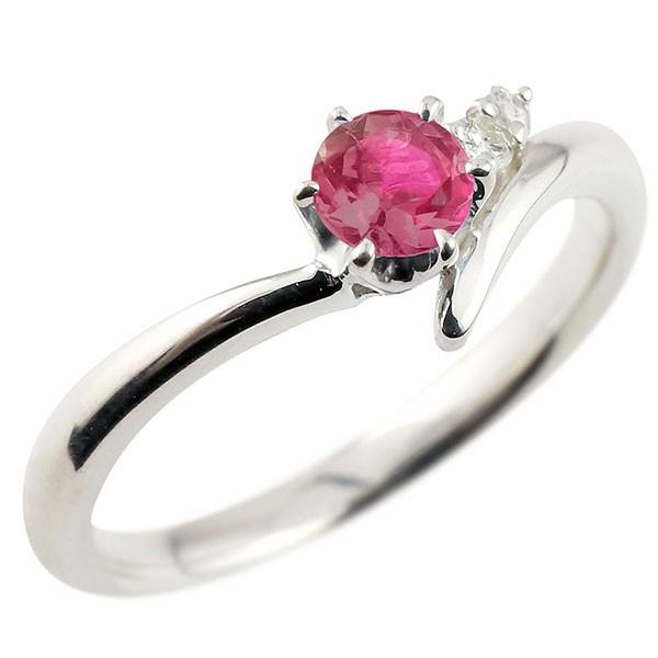 ルビー  プラチナリング ダイヤモンド 指輪 ピンキーリング 一粒 大粒 pt900 レディース 7月誕生石
