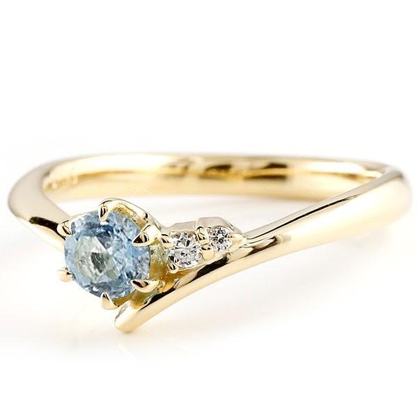 サンタアクアマリン イエローゴールドリング ダイヤモンド 指輪 ピンキーリング 一粒 大粒 k18 レディース 2月誕生石
